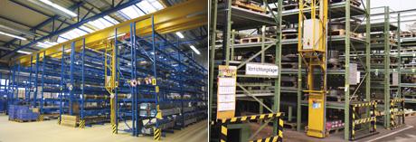 Links: Langgutlager für drei Meter lange Stäbe, Rechts: Vorrichtungslager bei einem Maschinenhersteller
